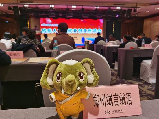 绒言绒语郑淑携河南萌物大象奔奔参加华东地区残疾人文化周活动